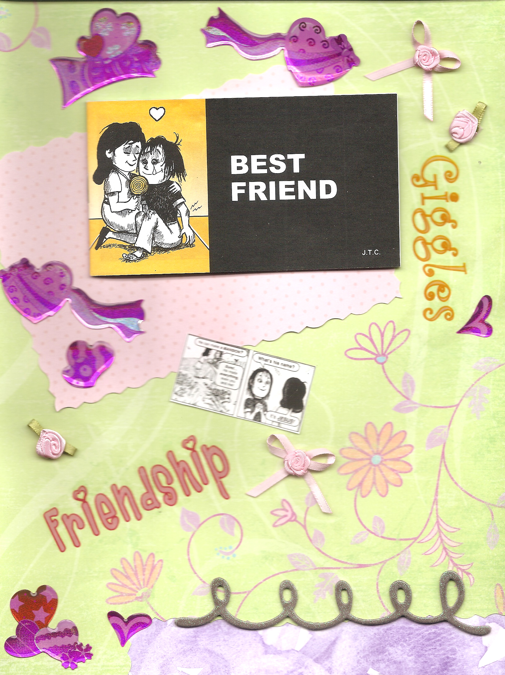 Scrapbook ideas for best friend - A Scrapbook Page Depicting The Chick Tract Best Friend On A Green Page