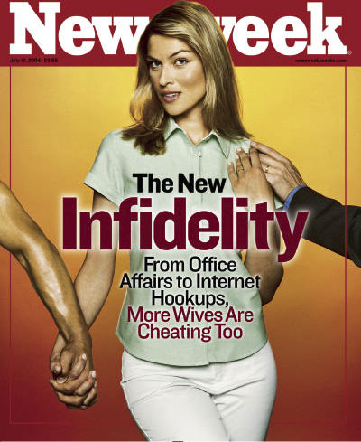 Newsweek Magazine Cover Shows A Woman Dressed In Business Casual Clothing Holding Two Mens
