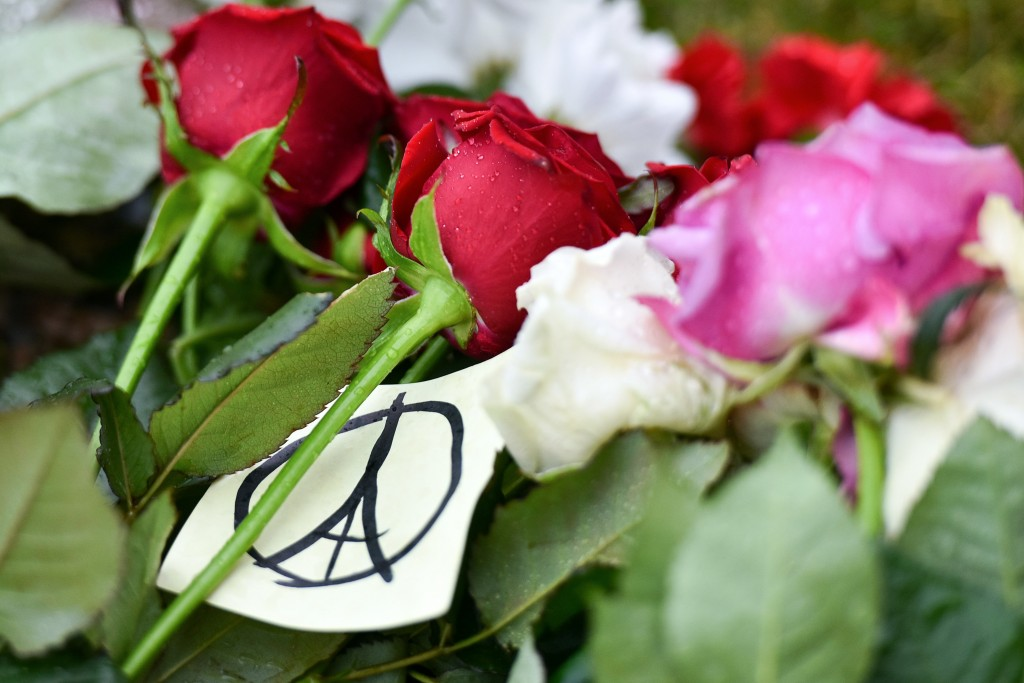 A picture of red, white, and pink roses gathered. Among them is a small piece of paper with a peace sign drawn on it in black ink. The lines at the centre of the peace sign form an image of the Eiffel tower.