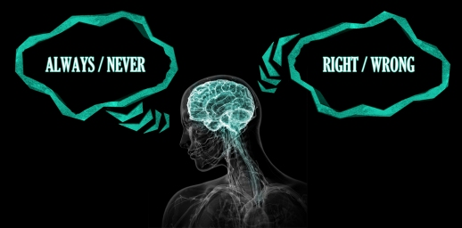 "An x-ray style picture of a person, nervous system visible, brain highlighted in turquoise and white. Over the person's head, thought balloons read ""Always/Never"" and ""Right/Wrong""."